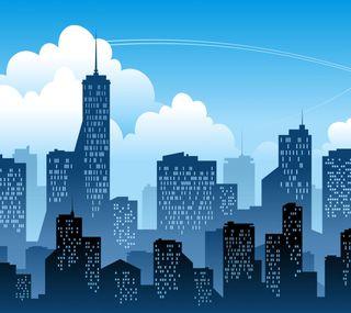 Обои на телефон окно, синие, небо, здания, дизайн, город, векторные