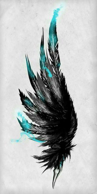 Обои на телефон перья, крылья, синие