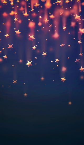 Обои на телефон желтые, синие, падение, оранжевые, небо, красые, звезды, falling stars