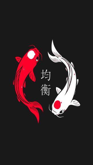 Обои на телефон японские, рыба, koi balance, koi