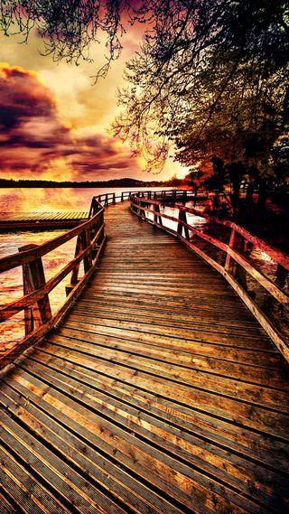 Обои на телефон фотографии, путь, пейзаж, осень, одинокий, мост, красочные, colorful bridge, collection colorful, autumn pictures