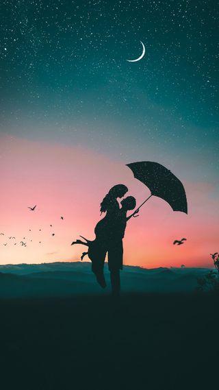 Обои на телефон силуэт, мальчик, пара, ночь, люди, любовь, луна, девушки, love