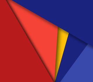Обои на телефон треугольники, формы, синие, материал, красые, желтые, абстрактные, material angles