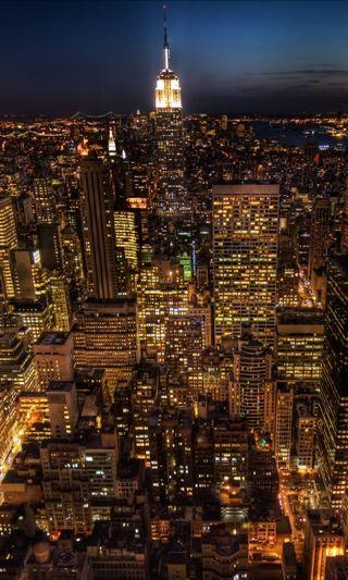 Обои на телефон ночь, новый, йорк, империя, здания, город, горизонт, skyline