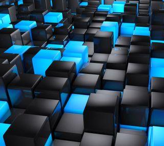 Обои на телефон 3d, черные, синие, 3д, кубы, блоки