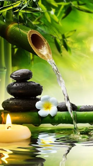 Обои на телефон water and stones, вода, цветы, камни, свеча, бамбук