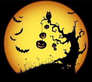 Обои на телефон луна, хэллоуин, праздник, тыква, летучая мышь
