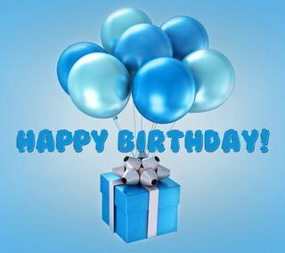 Обои на телефон happy, синие, дизайн, счастливые, день рождения, подарок, шары