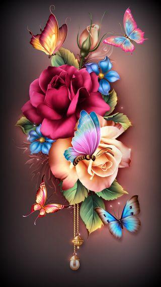 Обои на телефон лето, цветы, розы, приятные, бабочки, summer flowers