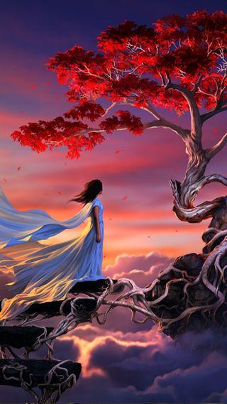 Обои на телефон фантазия, небо, женщина, дерево, woman and tree