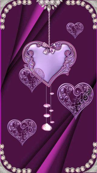 Обои на телефон фиолетовые, сердце
