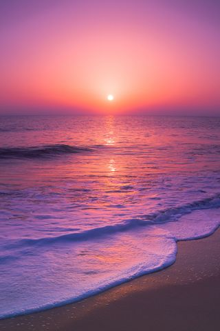 Обои на телефон редми, экран блокировки, фиолетовые, солнечный свет, природа, пляж, пейзаж, небо, красые, восход, sky redmi, nature views, hd