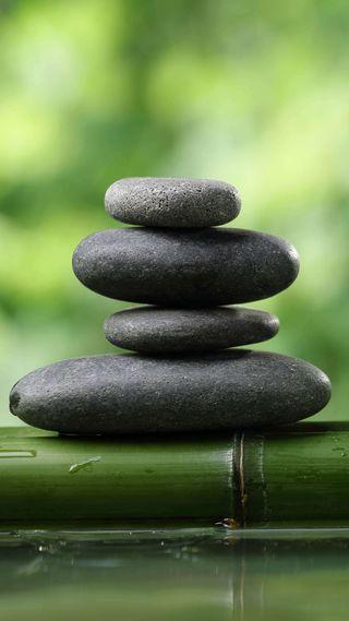 Обои на телефон дзен, камни, бамбук, zen rocks 1