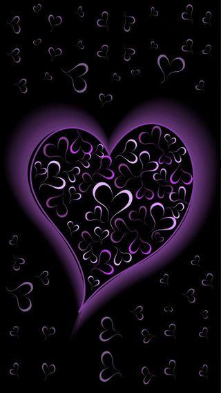 Обои на телефон светящиеся, фиолетовые, сердце, абстрактные