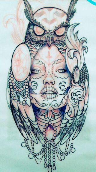 Обои на телефон тату, сова, owl tattoo, kaki