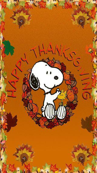 Обои на телефон карты, счастливые, снупи, листья, благодарение, thanksgiving card