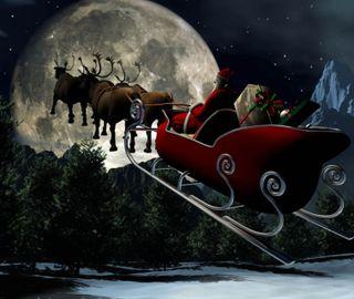 Обои на телефон олень, санта, рождество, праздник, ночь, небо, sleigh, santas sleigh