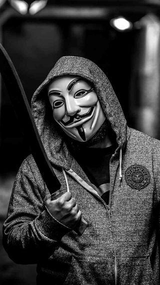 Обои на телефон парень, маска, анонимус