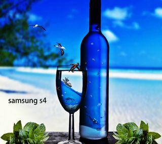 Обои на телефон бутылка, синие, самсунг, пляж, samsung s4, bottle blue