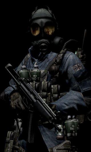Обои на телефон оружие, маска, темные, солдат, газ, воин, военные