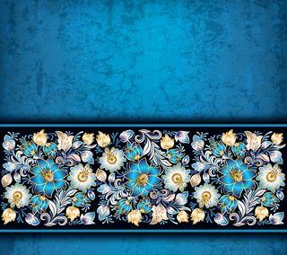 Обои на телефон цветочные, шаблон, синие