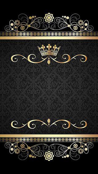 Обои на телефон корона, шаблон, черные, золотые, винтаж, damask