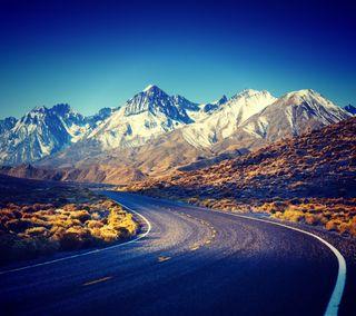 Обои на телефон поле, природа, пейзаж, дорога, горы, mountain road