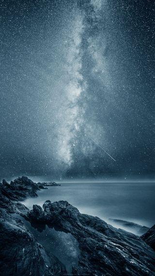 Обои на телефон самсунг, пейзаж, океан, ночь, море, звезды, бесконечность, samsung, s7, reflecting infinity, plus