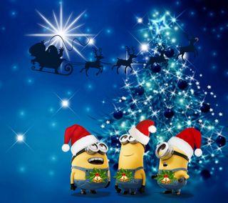 Обои на телефон счастливое, рождество, мультики, миньоны, 1440x1280px, minions christmas