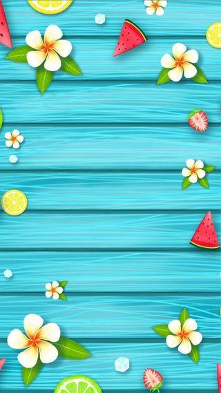 Обои на телефон фрукты, цветы, синие, рисунки, лето, дерево, арбуз