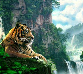 Обои на телефон тигр, природа, падает