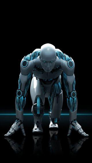 Обои на телефон робот, неоновые, металл, robo