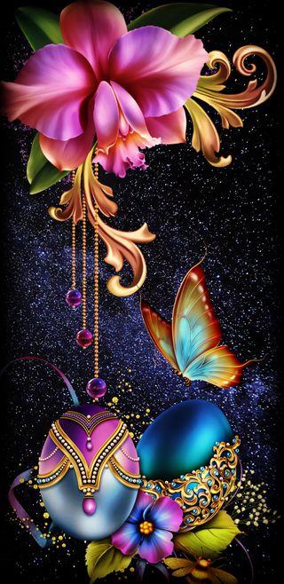 Обои на телефон яйца, пасхальные, цветы, цветочные, фиолетовые, розовые, космос, дизайн, галактика, бабочки, galaxy, floral compose
