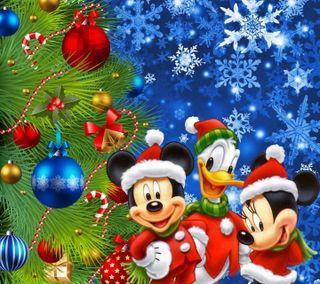 Обои на телефон микки, шары, счастливое, снежинки, рождество, маус, ель, дисней, дерево, fir tree