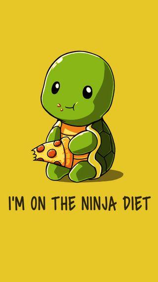Обои на телефон черепаха, цитата, поговорка, пицца, ниндзя, милые, желтые, ест, diet
