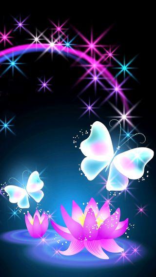 Обои на телефон сияние, неоновые, лотус, бабочки, sparlke