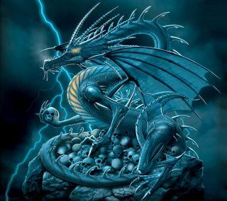 Обои на телефон фантастические, фантазия, синие, дракон, dragon