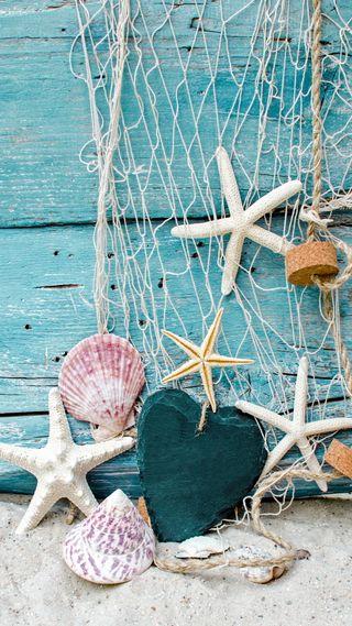 Обои на телефон ракушки, песок, морской, морская звезда