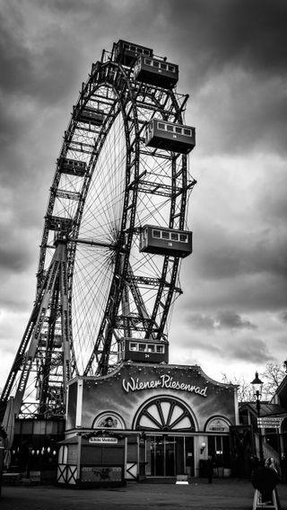 Обои на телефон колеса, vienna, ferriswheel, ferris wheel, blackwhite, austria