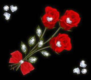 Обои на телефон love, love roses by marika, любовь, цветы, сердце, розы, романтика, бриллианты, лук
