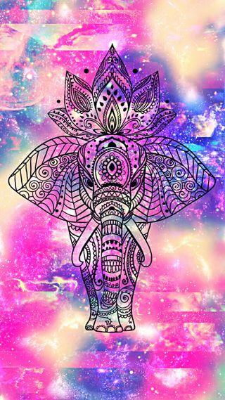 Обои на телефон слон, синие, сверкающие, розовые, мандала, блестящие, абстрактные, abstract elephant