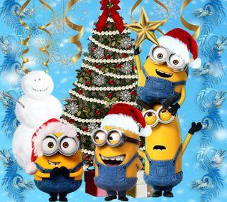 Обои на телефон счастливое, рождество, миньоны, 1440x1280px, minions christmas, cartoos