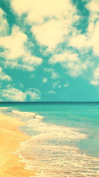 Обои на телефон ретро, природа, пляж, пейзаж, облака, небо, вода