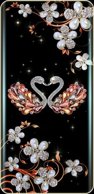Обои на телефон девчачие, цветы, цветочные, симпатичные, сверкающие, розы, розовые, прекрасные, золотые, жемчужина, swans, pearled swans