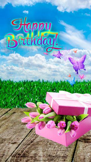 Обои на телефон тюльпаны, трава, текст, счастливые, небо, каникулы, день рождения, бабочки, appy birthday
