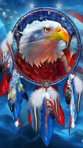 Обои на телефон ловец снов, флаг, орел, американские