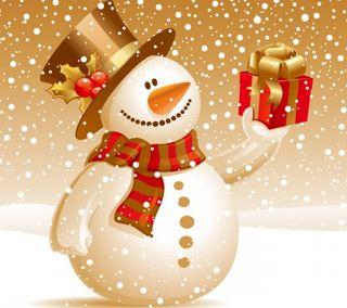 Обои на телефон снеговик, праздник, подарок