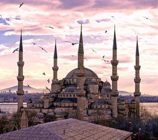 Обои на телефон мечеть, цветные, фото, природа, пейзаж, sultanahmet mosque