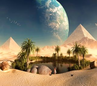 Обои на телефон oasis, египет, пустыня, пирамида