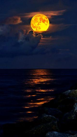 Обои на телефон пляж, ночь, море, луна, jupiter, inlet, full